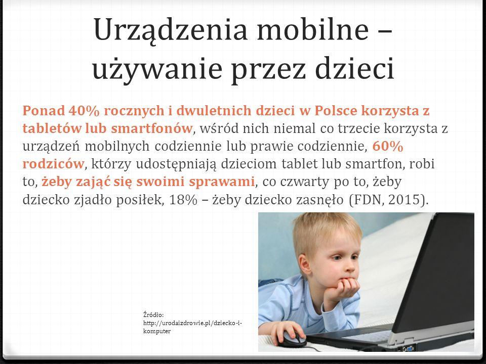 Urządzenia mobilne – używanie przez dzieci Ponad 40% rocznych i dwuletnich dzieci w Polsce korzysta z tabletów lub smartfonów, wśród nich niemal co tr