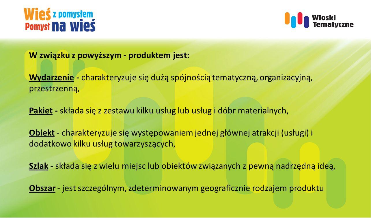W związku z powyższym - produktem jest: Wydarzenie - charakteryzuje się dużą spójnością tematyczną, organizacyjną, przestrzenną, Pakiet - składa się z