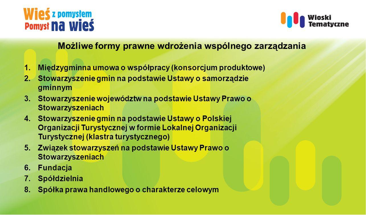 Możliwe formy prawne wdrożenia wspólnego zarządzania 1. Międzygminna umowa o współpracy (konsorcjum produktowe) 2. Stowarzyszenie gmin na podstawie Us