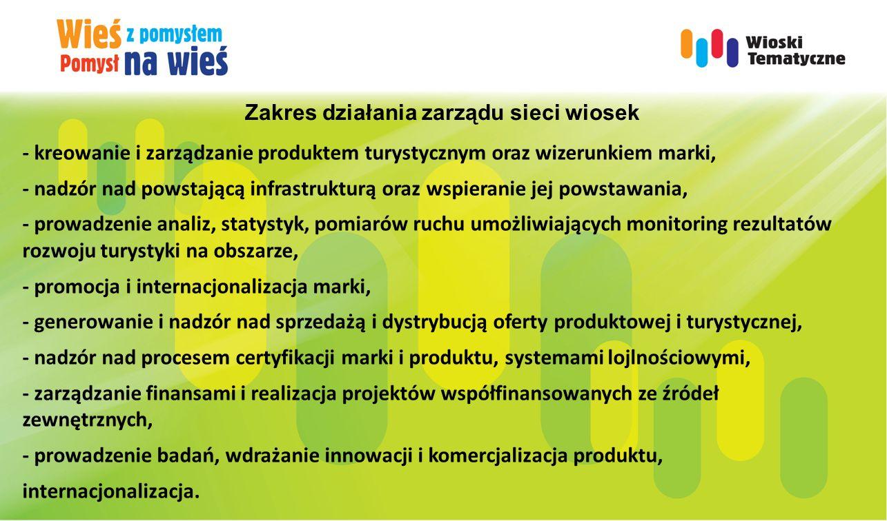 Zakres działania zarządu sieci wiosek - kreowanie i zarządzanie produktem turystycznym oraz wizerunkiem marki, - nadzór nad powstającą infrastrukturą