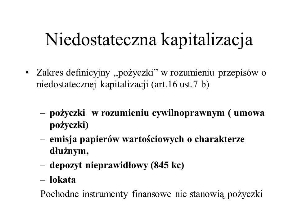 """Niedostateczna kapitalizacja Zakres definicyjny """"pożyczki"""" w rozumieniu przepisów o niedostatecznej kapitalizacji (art.16 ust.7 b) –pożyczki w rozumie"""