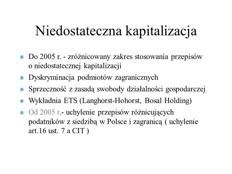 Niedostateczna kapitalizacja Do 2005 r. - zróżnicowany zakres stosowania przepisów o niedostatecznej kapitalizacji Dyskryminacja podmiotów zagraniczny