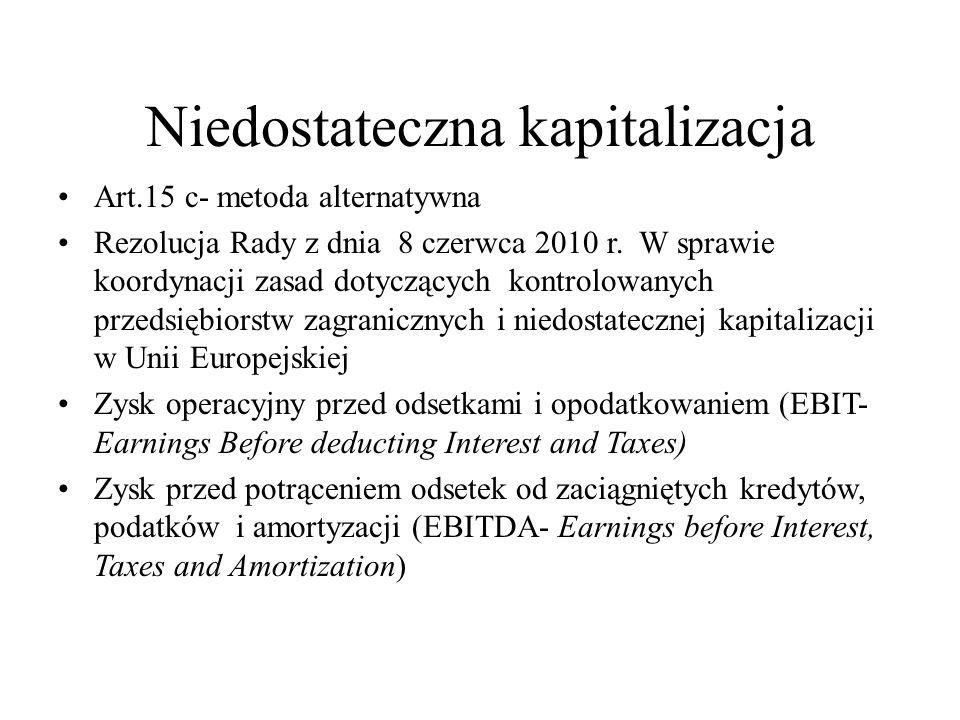 Niedostateczna kapitalizacja Art.15 c- metoda alternatywna Rezolucja Rady z dnia 8 czerwca 2010 r. W sprawie koordynacji zasad dotyczących kontrolowan