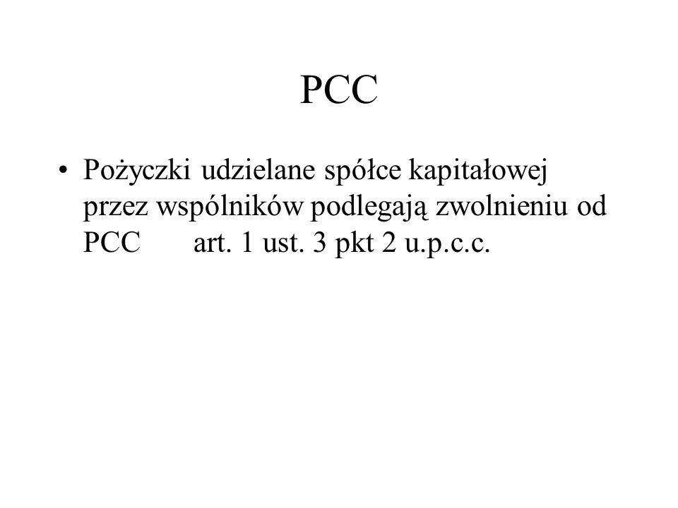 PCC Pożyczki udzielane spółce kapitałowej przez wspólników podlegają zwolnieniu od PCC art. 1 ust. 3 pkt 2 u.p.c.c.