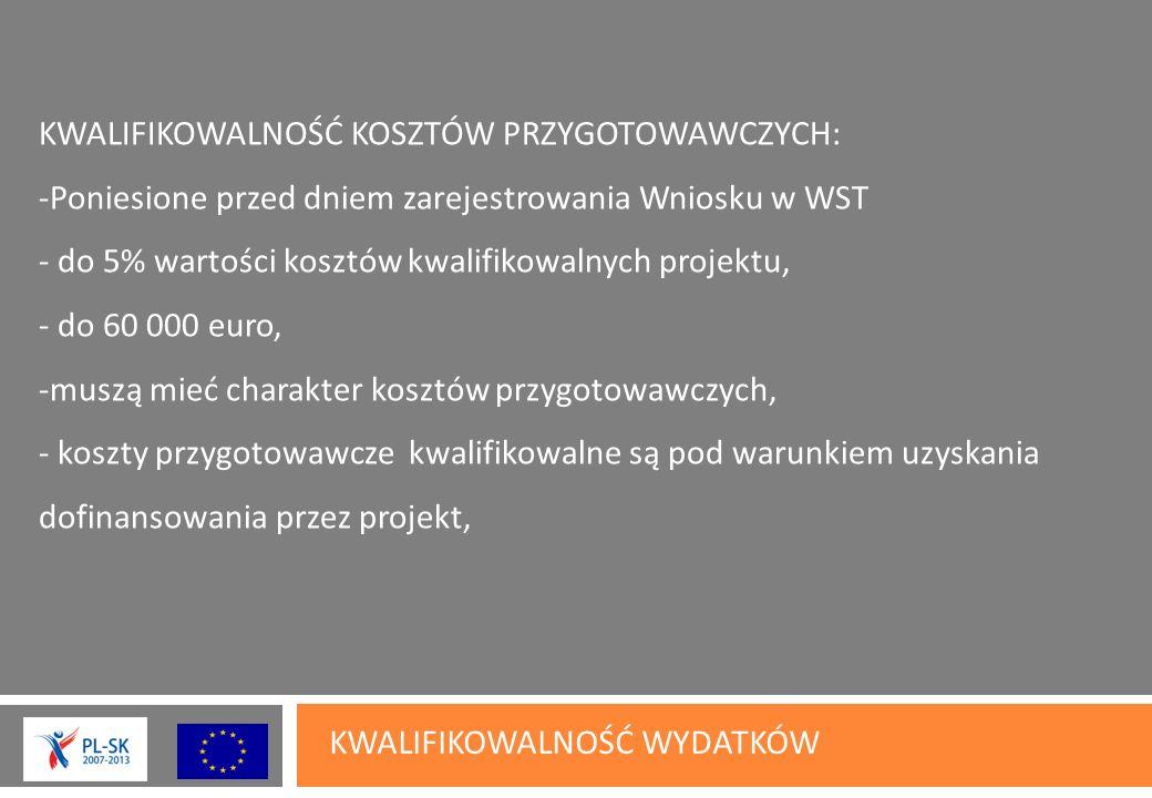KWALIFIKOWALNOŚĆ WYDATKÓW KWALIFIKOWALNOŚĆ KOSZTÓW PRZYGOTOWAWCZYCH: - -Poniesione przed dniem zarejestrowania Wniosku w WST - - do 5% wartości kosztów kwalifikowalnych projektu, - - do 60 000 euro, - -muszą mieć charakter kosztów przygotowawczych, - - koszty przygotowawcze kwalifikowalne są pod warunkiem uzyskania dofinansowania przez projekt,