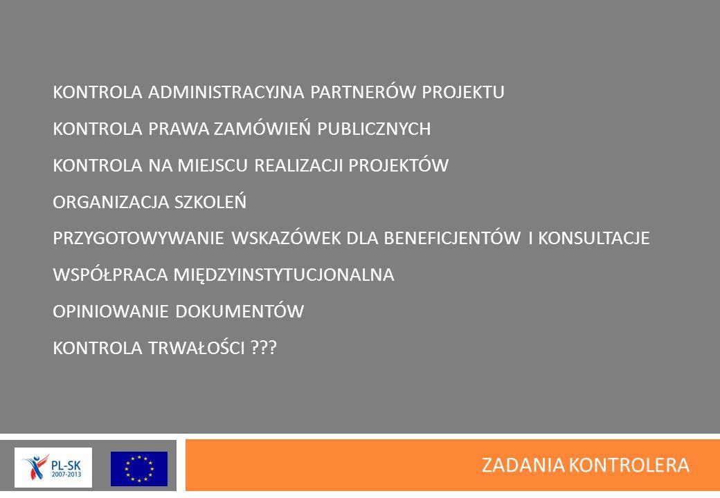 KWALIFIKOWALNOŚĆ WYDATKÓW PODWÓJNE FINANSOWANIE –jest niekwalifikowalne VAT – który nie podlega zwrotowi z budżetu państwa jest kwalifikowalny PROWADZENIE RACHUNKU – kwalifikowalne tylko dla PW, rachunki w euro PRZELEWY – związane z realizacja projektu są kwalifikowalne dla PW i PP INFORMACJA i PROMOCJA – niespełnienie zasad może nieść konsekwencje w postaci uznania wydatku za niekwalifikowalny,