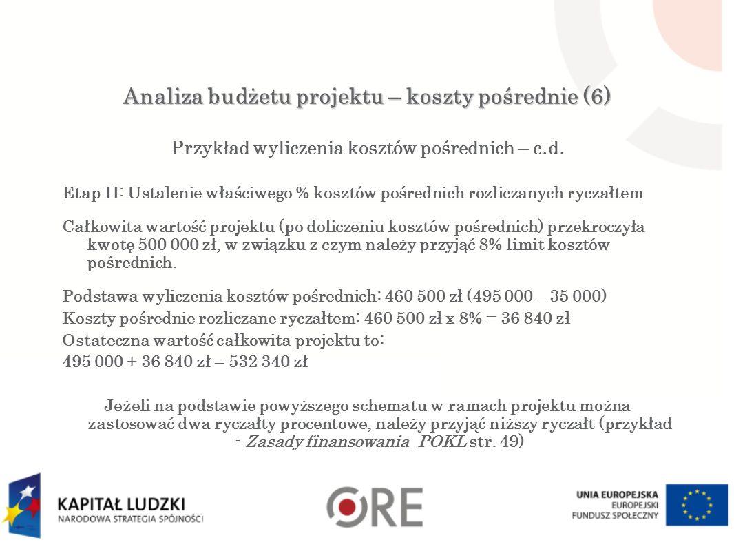 Analiza budżetu projektu – koszty pośrednie (6) Przykład wyliczenia kosztów pośrednich – c.d.