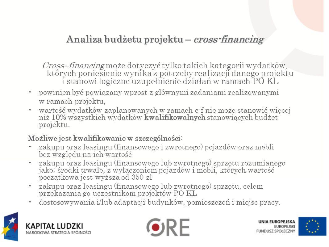 Analiza budżetu projektu – cross-financing Cross–financing może dotyczyć tylko takich kategorii wydatków, których poniesienie wynika z potrzeby realizacji danego projektu i stanowi logiczne uzupełnienie działań w ramach PO KL powinien być powiązany wprost z głównymi zadaniami realizowanymi w ramach projektu, wartość wydatków zaplanowanych w ramach c-f nie może stanowić więcej niż 10% wszystkich wydatków kwalifikowalnych stanowiących budżet projektu.