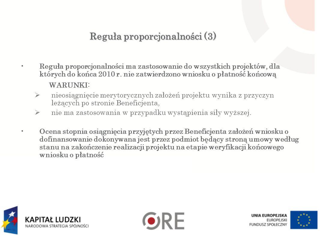 Reguła proporcjonalności (3) Reguła proporcjonalności ma zastosowanie do wszystkich projektów, dla których do końca 2010 r. nie zatwierdzono wniosku o