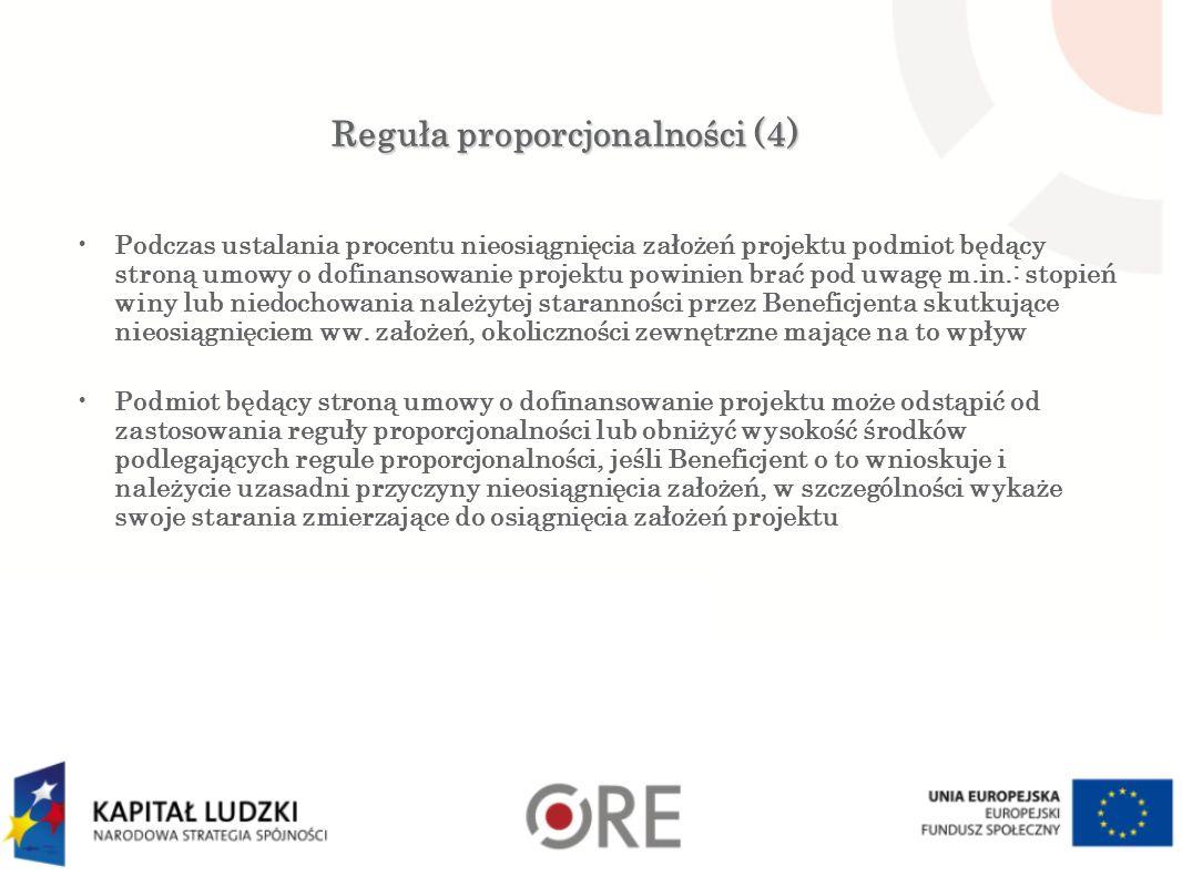 Reguła proporcjonalności (4) Podczas ustalania procentu nieosiągnięcia założeń projektu podmiot będący stroną umowy o dofinansowanie projektu powinien