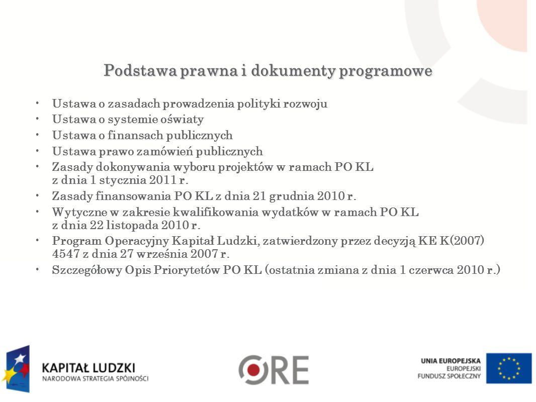 Podstawa prawna i dokumenty programowe Ustawa o zasadach prowadzenia polityki rozwoju Ustawa o systemie oświaty Ustawa o finansach publicznych Ustawa prawo zamówień publicznych Zasady dokonywania wyboru projektów w ramach PO KL z dnia 1 stycznia 2011 r.
