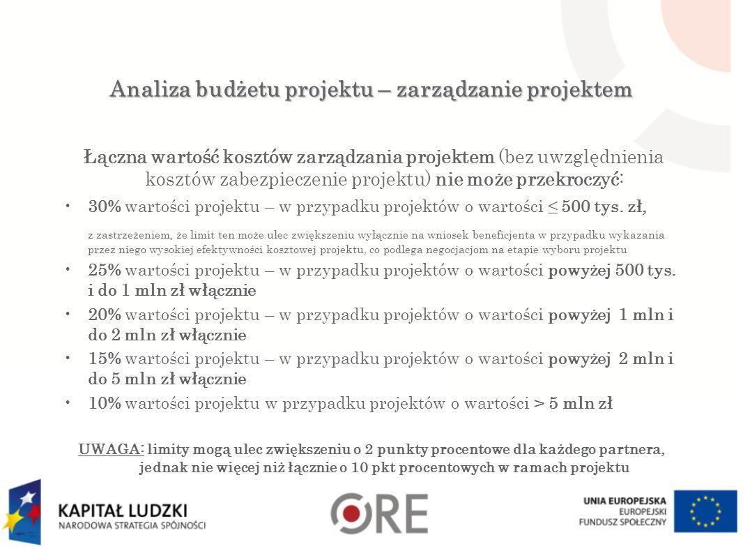 Analiza budżetu projektu – zarządzanie projektem Łączna wartość kosztów zarządzania projektem (bez uwzględnienia kosztów zabezpieczenie projektu) nie może przekroczyć: 30% wartości projektu – w przypadku projektów o wartości ≤ 500 tys.