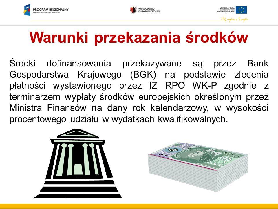 Warunki przekazania środków Środki dofinansowania przekazywane są przez Bank Gospodarstwa Krajowego (BGK) na podstawie zlecenia płatności wystawionego