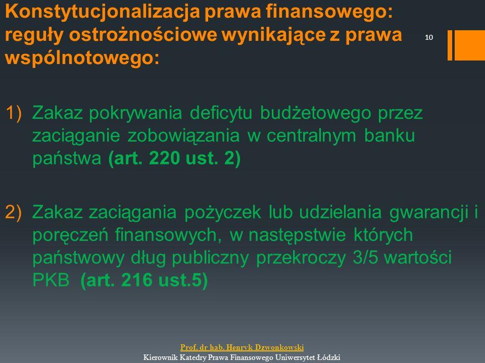 Konstytucjonalizacja prawa finansowego: reguły ostrożnościowe wynikające z prawa wspólnotowego: 1)Zakaz pokrywania deficytu budżetowego przez zaciągan
