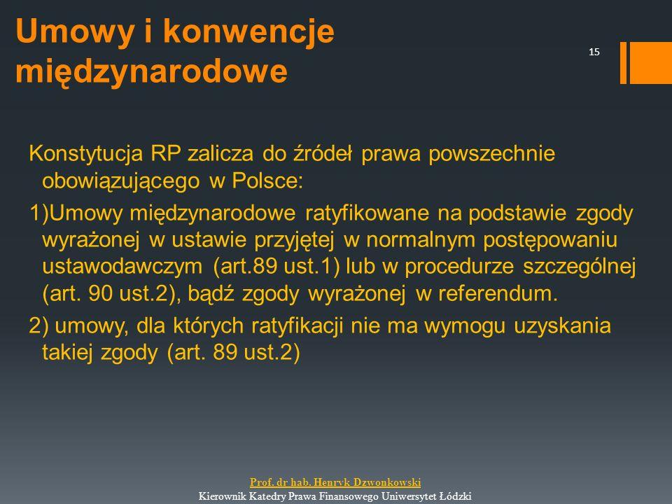 Umowy i konwencje międzynarodowe Konstytucja RP zalicza do źródeł prawa powszechnie obowiązującego w Polsce: 1)Umowy międzynarodowe ratyfikowane na po