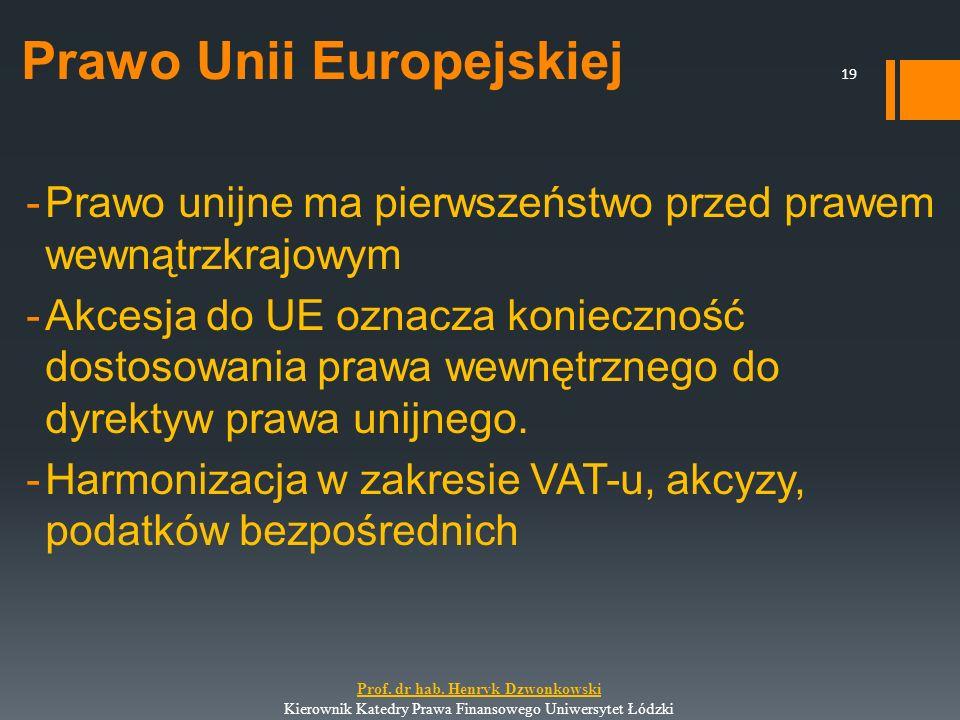 Prawo Unii Europejskiej -Prawo unijne ma pierwszeństwo przed prawem wewnątrzkrajowym -Akcesja do UE oznacza konieczność dostosowania prawa wewnętrzneg
