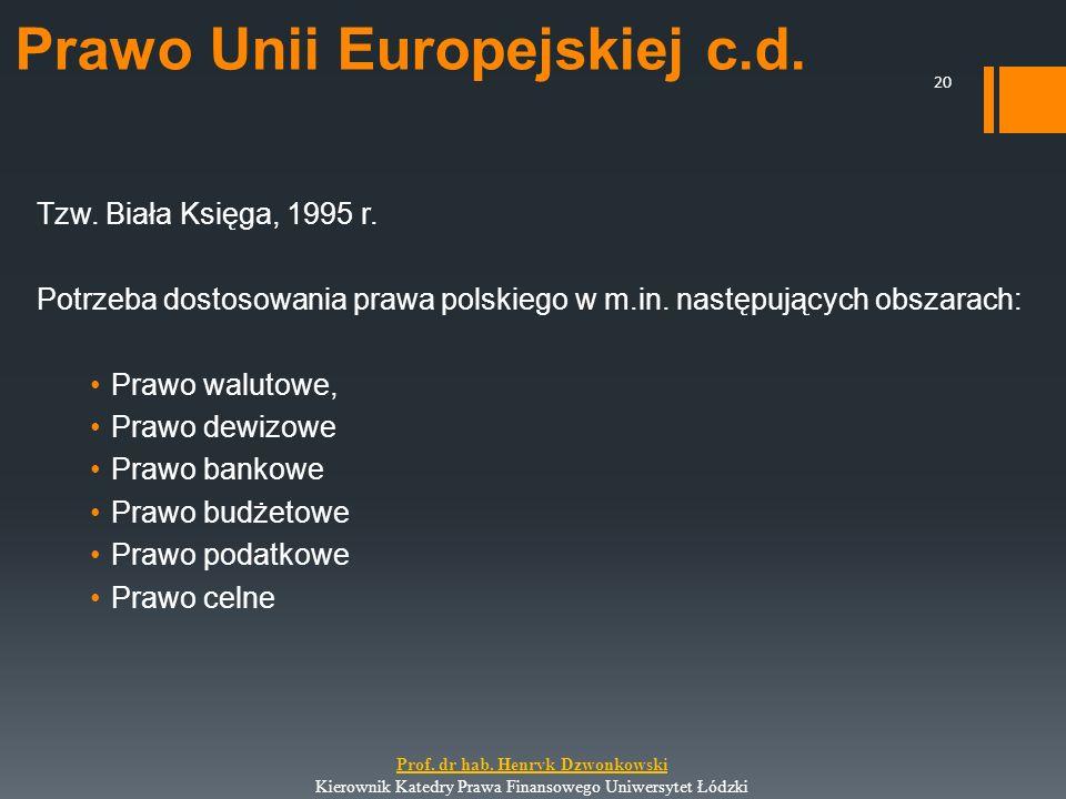 Prawo Unii Europejskiej c.d. Tzw. Biała Księga, 1995 r. Potrzeba dostosowania prawa polskiego w m.in. następujących obszarach: Prawo walutowe, Prawo d