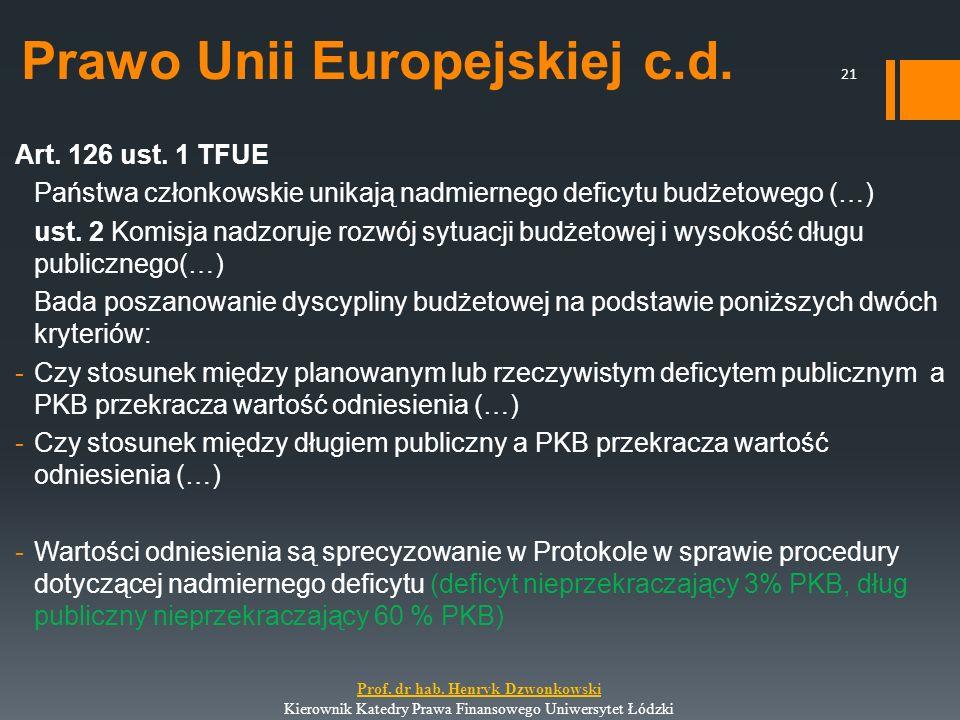 Prawo Unii Europejskiej c.d. Art. 126 ust. 1 TFUE Państwa członkowskie unikają nadmiernego deficytu budżetowego (…) ust. 2 Komisja nadzoruje rozwój sy