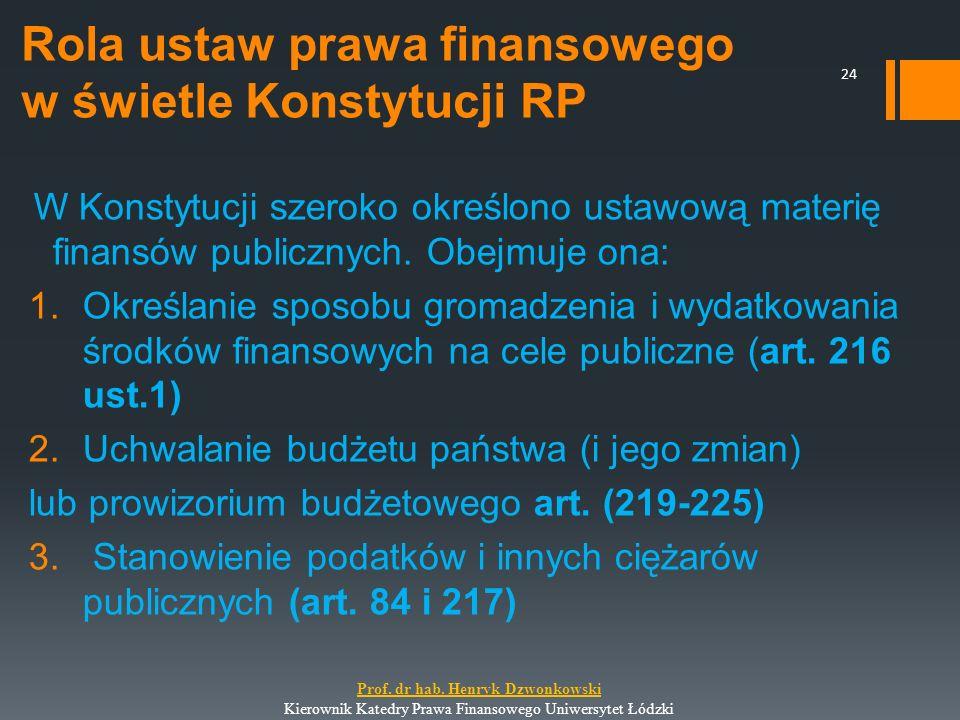Rola ustaw prawa finansowego w świetle Konstytucji RP W Konstytucji szeroko określono ustawową materię finansów publicznych. Obejmuje ona: 1.Określani
