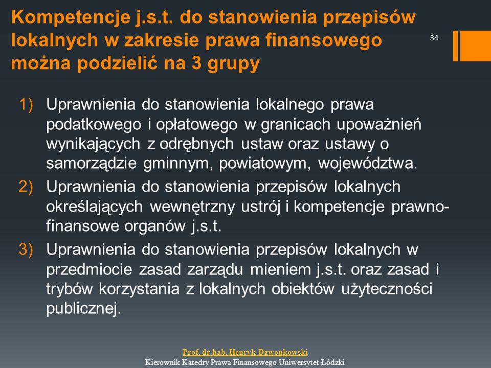 Kompetencje j.s.t. do stanowienia przepisów lokalnych w zakresie prawa finansowego można podzielić na 3 grupy 1)Uprawnienia do stanowienia lokalnego p
