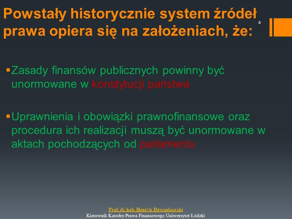 Powstały historycznie system źródeł prawa opiera się na założeniach, że:  Zasady finansów publicznych powinny być unormowane w konstytucji państwa 