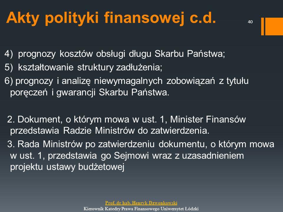 Akty polityki finansowej c.d. 4) prognozy kosztów obsługi długu Skarbu Państwa; 5) kształtowanie struktury zadłużenia; 6) prognozy i analizę niewymaga