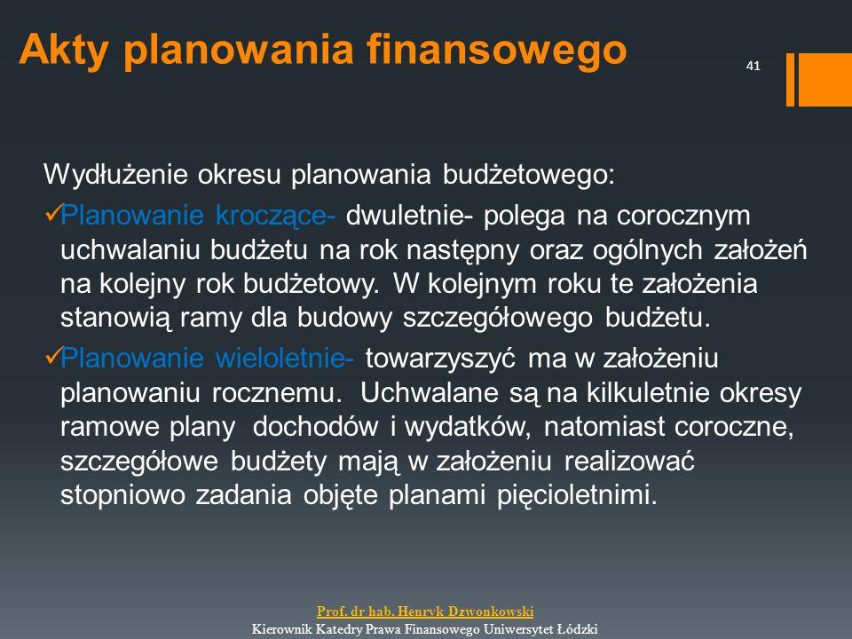 Akty planowania finansowego Wydłużenie okresu planowania budżetowego: Planowanie kroczące- dwuletnie- polega na corocznym uchwalaniu budżetu na rok na
