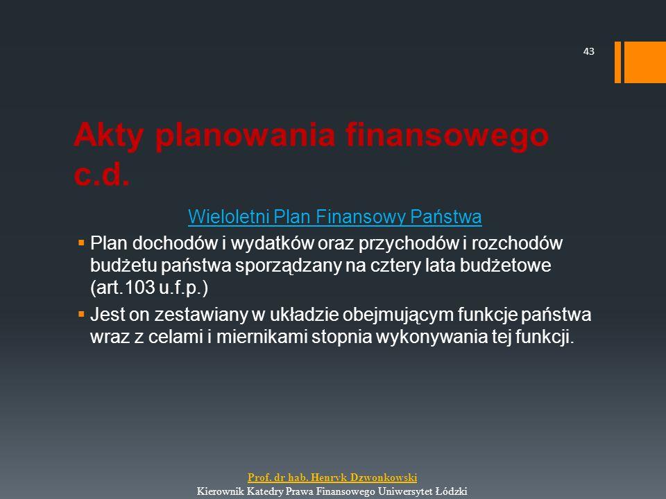 Akty planowania finansowego c.d. Wieloletni Plan Finansowy Państwa  Plan dochodów i wydatków oraz przychodów i rozchodów budżetu państwa sporządzany