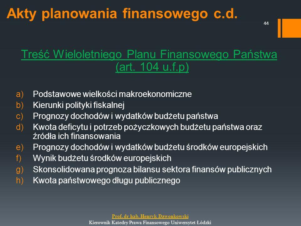 Akty planowania finansowego c.d. Treść Wieloletniego Planu Finansowego Państwa (art. 104 u.f.p) a)Podstawowe wielkości makroekonomiczne b)Kierunki pol