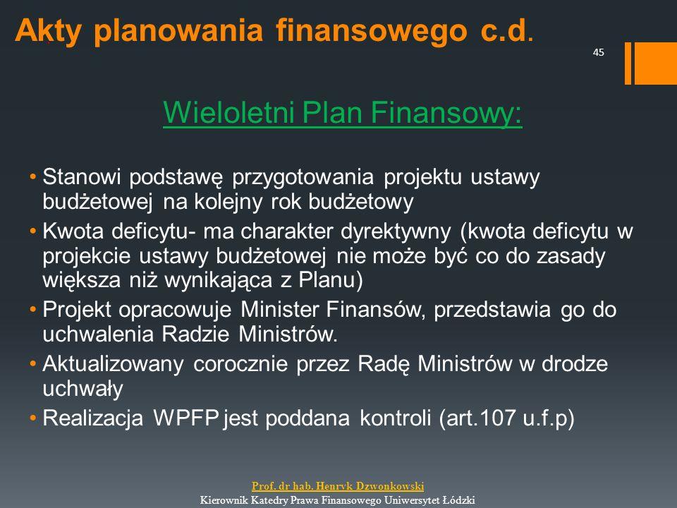 Akty planowania finansowego c.d. Wieloletni Plan Finansowy: Stanowi podstawę przygotowania projektu ustawy budżetowej na kolejny rok budżetowy Kwota d