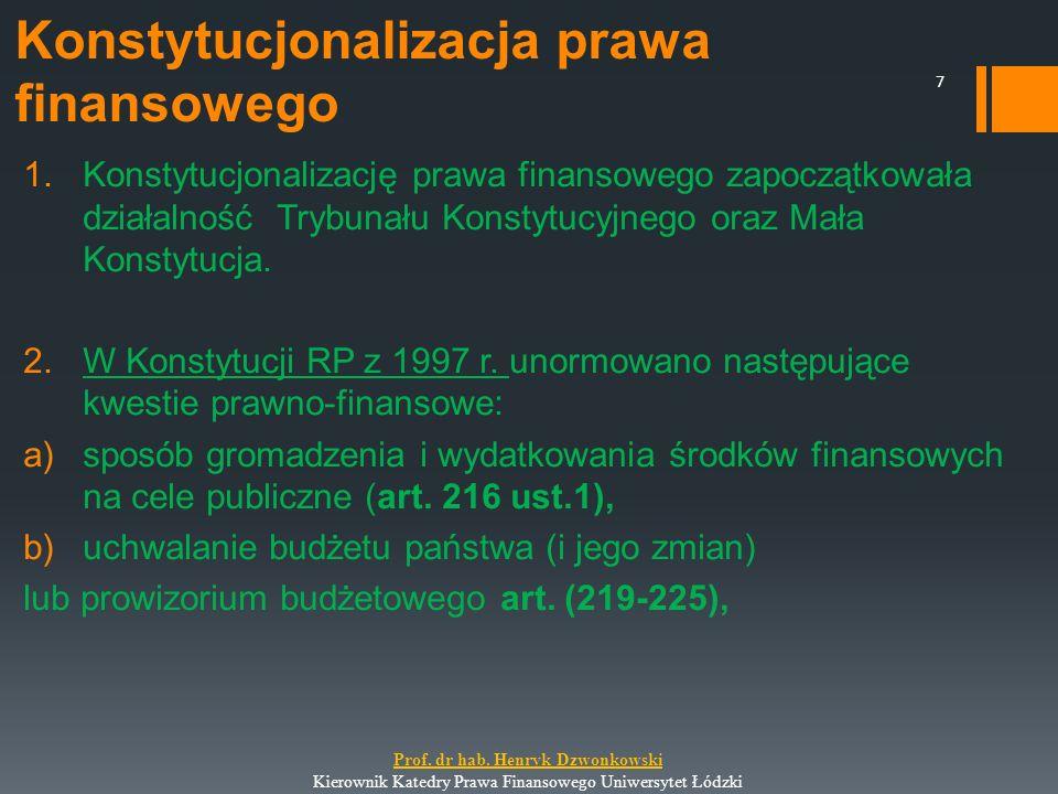 Konstytucjonalizacja prawa finansowego 1.Konstytucjonalizację prawa finansowego zapoczątkowała działalność Trybunału Konstytucyjnego oraz Mała Konstyt