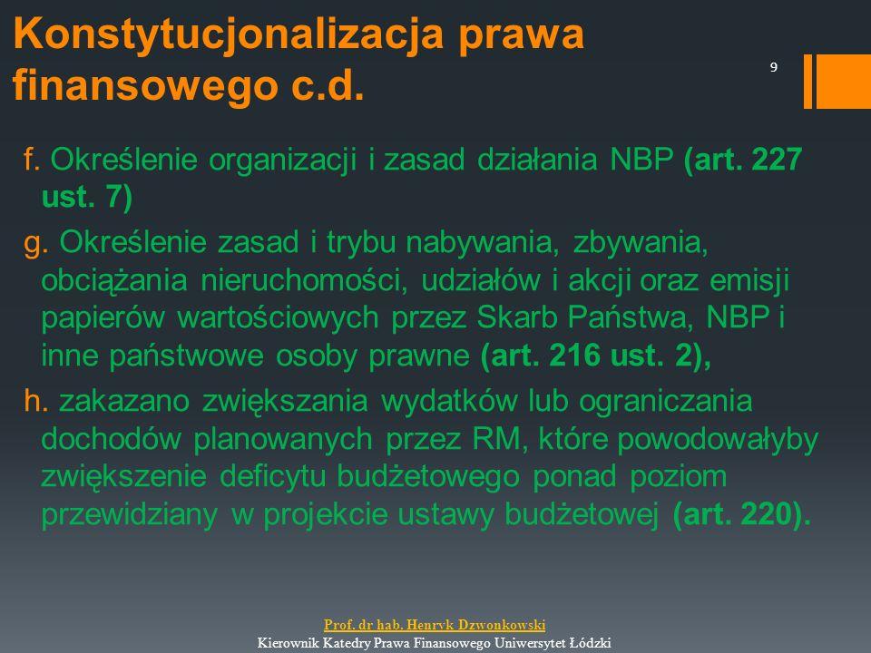 f. Określenie organizacji i zasad działania NBP (art. 227 ust. 7) g. Określenie zasad i trybu nabywania, zbywania, obciążania nieruchomości, udziałów