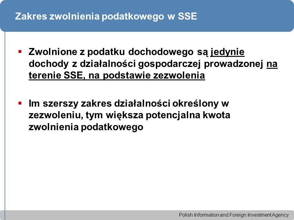 Polish Information and Foreign Investment Agency Zakres zwolnienia podatkowego w SSE  Zwolnione z podatku dochodowego są jedynie dochody z działalności gospodarczej prowadzonej na terenie SSE, na podstawie zezwolenia  Im szerszy zakres działalności określony w zezwoleniu, tym większa potencjalna kwota zwolnienia podatkowego
