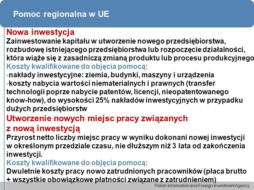 Polish Information and Foreign Investment Agency Pomoc regionalna w UE Nowa inwestycja Zainwestowanie kapitału w utworzenie nowego przedsiębiorstwa, rozbudowę istniejącego przedsiębiorstwa lub rozpoczęcie działalności, która wiąże się z zasadniczą zmianą produktu lub procesu produkcyjnego Koszty kwalifikowane do objęcia pomocą: -nakłady inwestycyjne: ziemia, budynki, maszyny i urządzenia -koszty nabycia wartości niematerialnych i prawnych (transfer technologii poprze nabycie patentów, licencji, nieopatentowanego know-how), do wysokości 25% nakładów inwestycyjnych w przypadku dużych przedsiębiorstw Utworzenie nowych miejsc pracy związanych z nową inwestycją Przyrost netto liczby miejsc pracy w wyniku dokonani nowej inwestycji w określonym przedziale czasu, nie dłuższym niż 3 lata od zakończenia inwestycji.