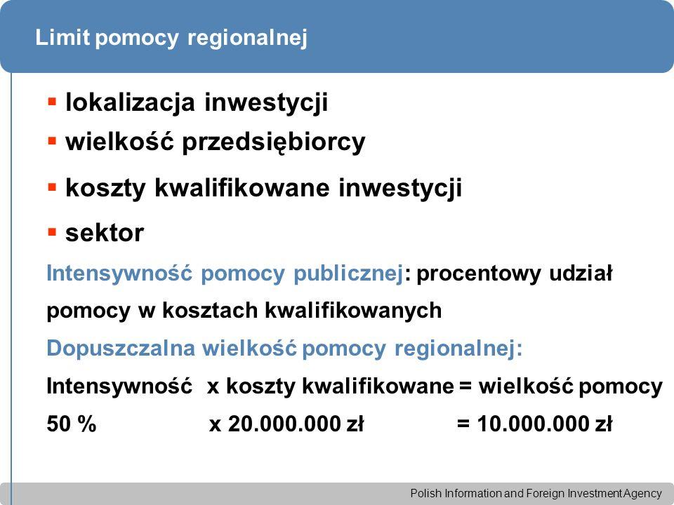 Polish Information and Foreign Investment Agency Zakres zwolnienia podatkowego w SSE Od marca 2005 r.