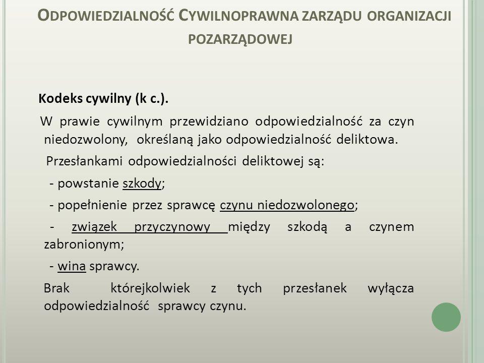 O DPOWIEDZIALNOŚĆ KARNA ZARZĄDU ORGANIZACJI POZARZĄDOWEJ Kodeks karny (k k.).