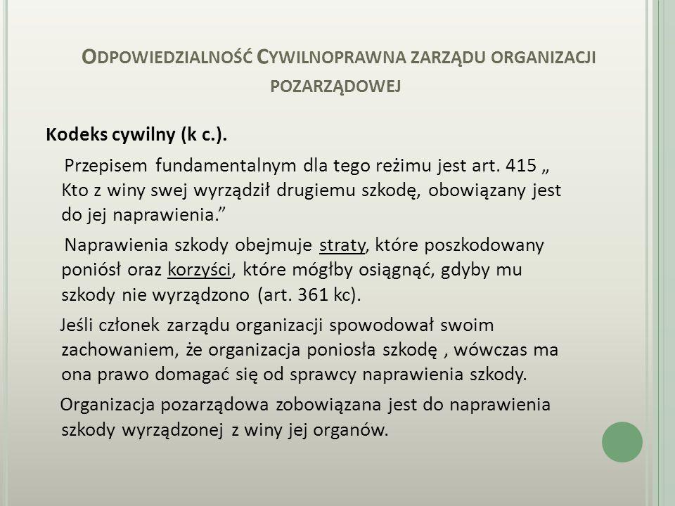 O DPOWIEDZIALNOŚĆ C YWILNOPRAWNA ZARZĄDU ORGANIZACJI POZARZĄDOWEJ Kodeks cywilny (k c.).