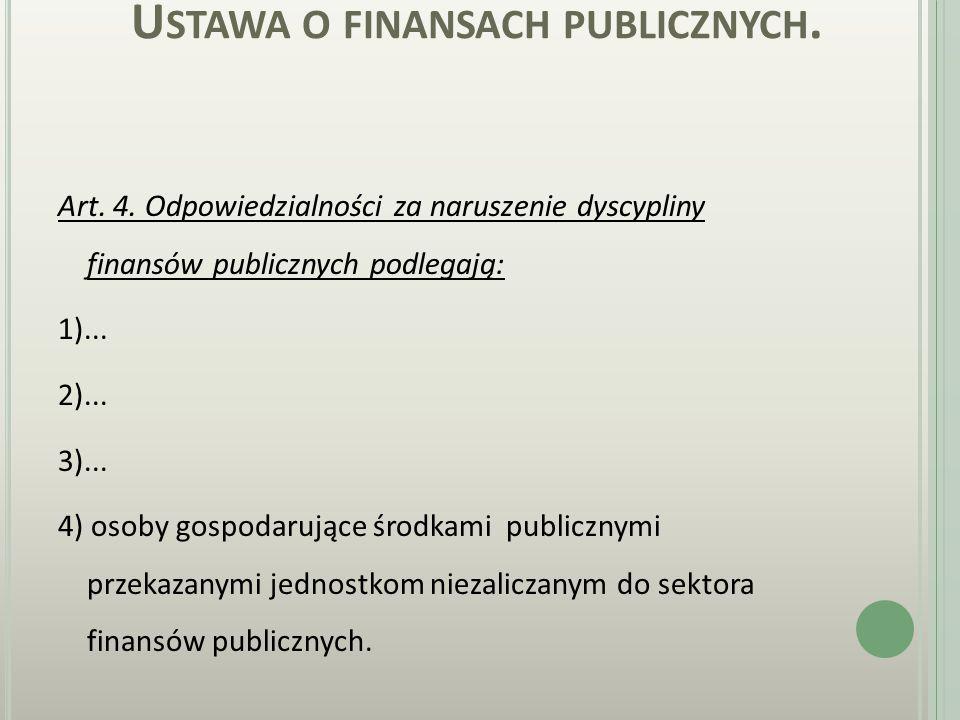 NARUSZENIA DYSTYPLINY FINANSÓW PUBLICZNYCH