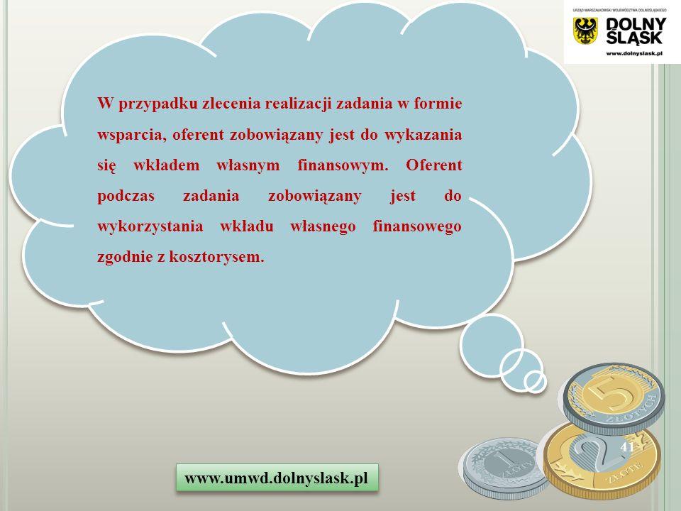 W przypadku zlecenia realizacji zadania w formie wsparcia, oferent zobowiązany jest do wykazania się wkładem własnym finansowym.