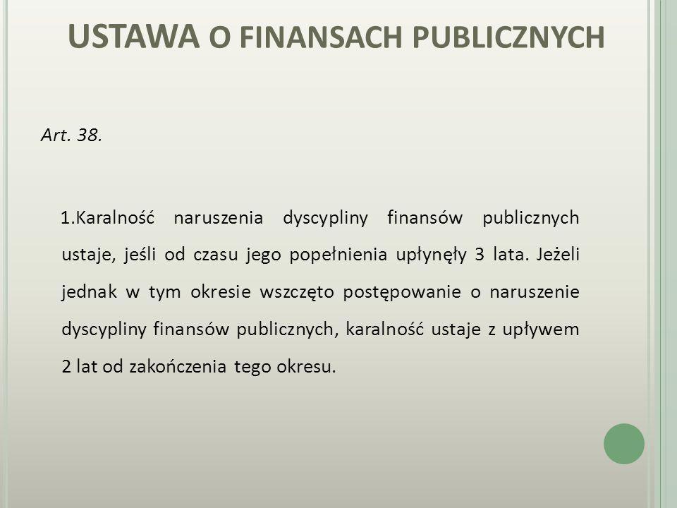 U STAWA O FINANSACH PUBLICZNYCH. cd. KARA 3.