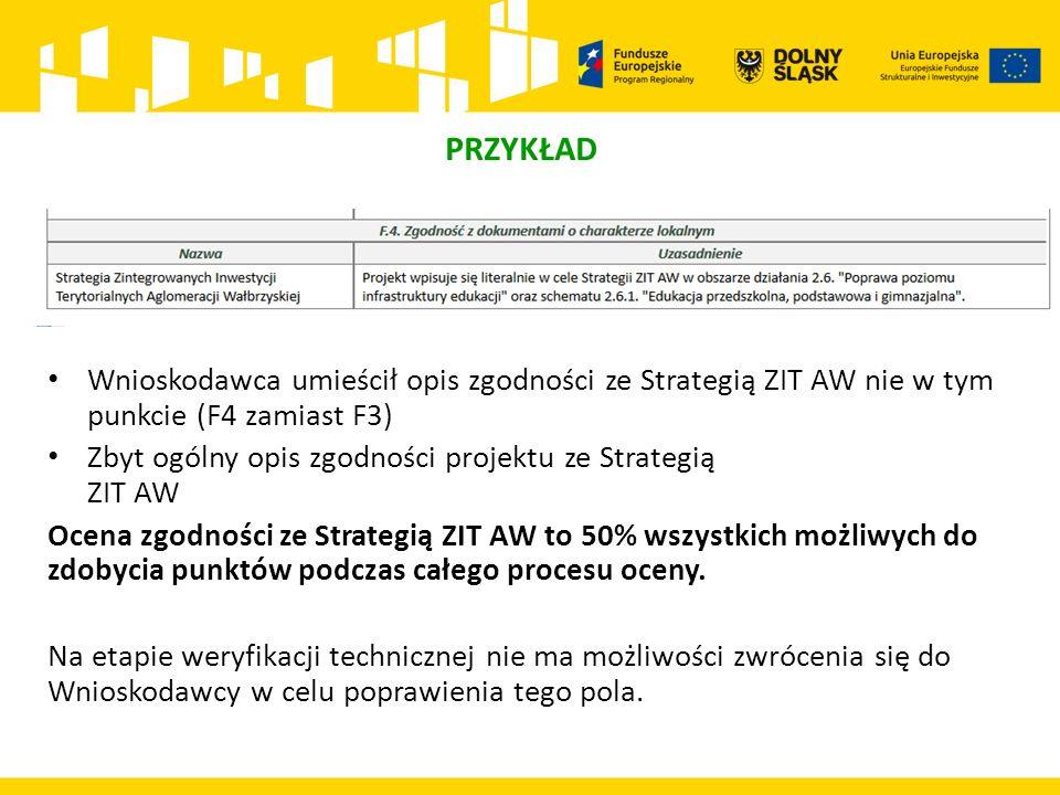 PRZYKŁAD Wnioskodawca umieścił opis zgodności ze Strategią ZIT AW nie w tym punkcie (F4 zamiast F3) Zbyt ogólny opis zgodności projektu ze Strategią ZIT AW Ocena zgodności ze Strategią ZIT AW to 50% wszystkich możliwych do zdobycia punktów podczas całego procesu oceny.