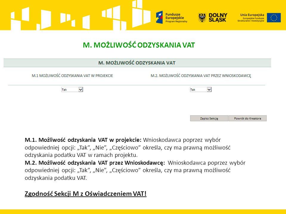 M. MOŻLIWOŚĆ ODZYSKANIA VAT M.1.