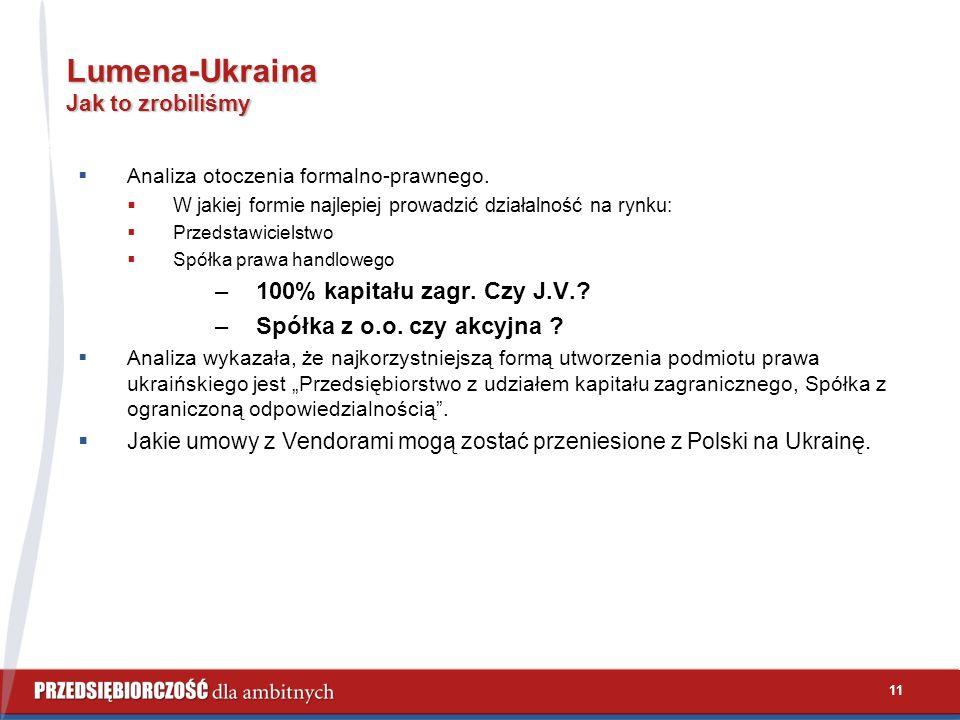 11 Lumena-Ukraina Jak to zrobiliśmy  Analiza otoczenia formalno-prawnego.  W jakiej formie najlepiej prowadzić działalność na rynku:  Przedstawicie