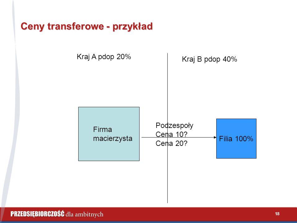 18 Ceny transferowe - przykład Kraj A pdop 20% Kraj B pdop 40% Firma macierzysta Filia 100% Podzespoły Cena 10? Cena 20?