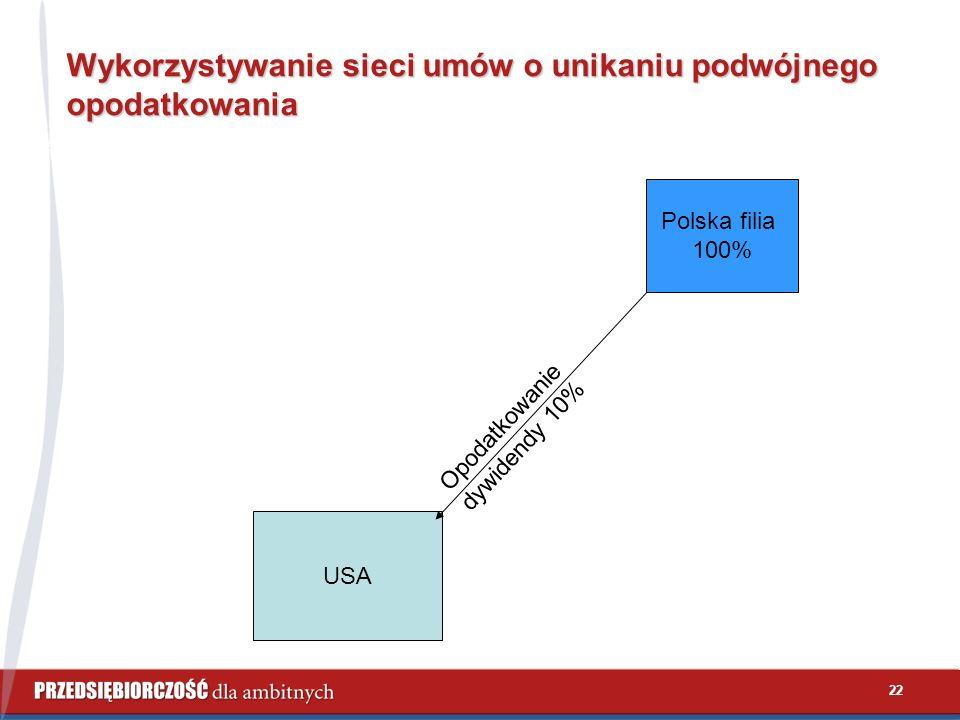 22 Wykorzystywanie sieci umów o unikaniu podwójnego opodatkowania USA Polska filia 100% Opodatkowanie dywidendy 10%