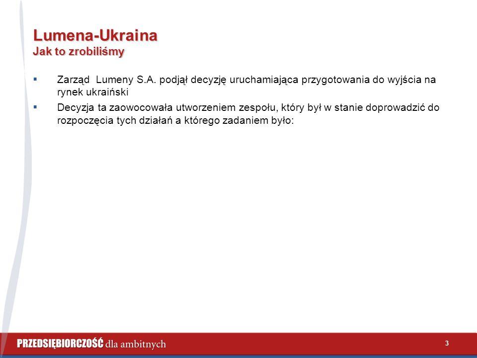 3 Lumena-Ukraina Jak to zrobiliśmy  Zarząd Lumeny S.A. podjął decyzję uruchamiająca przygotowania do wyjścia na rynek ukraiński  Decyzja ta zaowocow