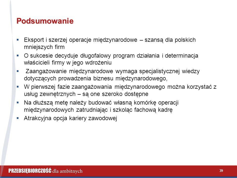 39 Podsumowanie  Eksport i szerzej operacje międzynarodowe – szansą dla polskich mniejszych firm  O sukcesie decyduje długofalowy program działania i determinacja właścicieli firmy w jego wdrożeniu  Zaangażowanie międzynarodowe wymaga specjalistycznej wiedzy dotyczących prowadzenia biznesu międzynarodowego,  W pierwszej fazie zaangażowania międzynarodowego można korzystać z usług zewnętrznych – są one szeroko dostępne  Na dłuższą metę należy budować własną komórkę operacji międzynarodowych zatrudniając i szkoląc fachową kadrę  Atrakcyjna opcja kariery zawodowej