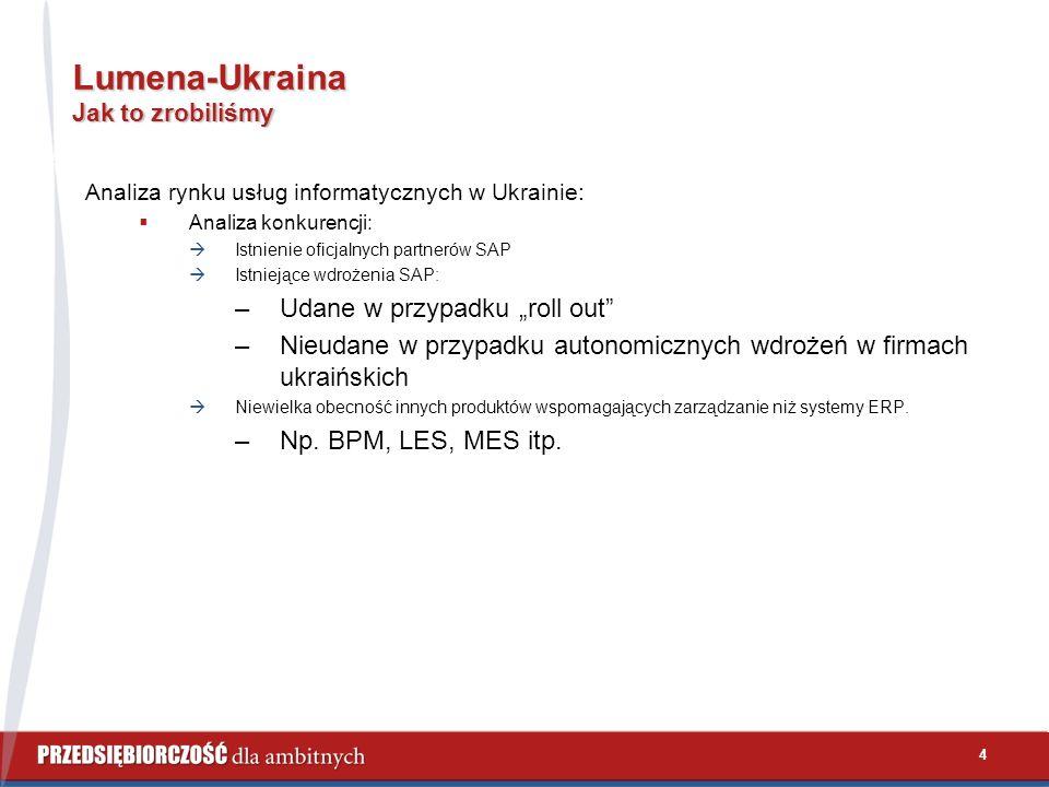 """4 Lumena-Ukraina Jak to zrobiliśmy Analiza rynku usług informatycznych w Ukrainie:  Analiza konkurencji:  Istnienie oficjalnych partnerów SAP  Istniejące wdrożenia SAP: –Udane w przypadku """"roll out –Nieudane w przypadku autonomicznych wdrożeń w firmach ukraińskich  Niewielka obecność innych produktów wspomagających zarządzanie niż systemy ERP."""