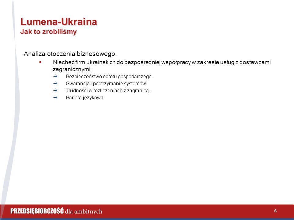 6 Lumena-Ukraina Jak to zrobiliśmy Analiza otoczenia biznesowego.  Niechęć firm ukraińskich do bezpośredniej współpracy w zakresie usług z dostawcami