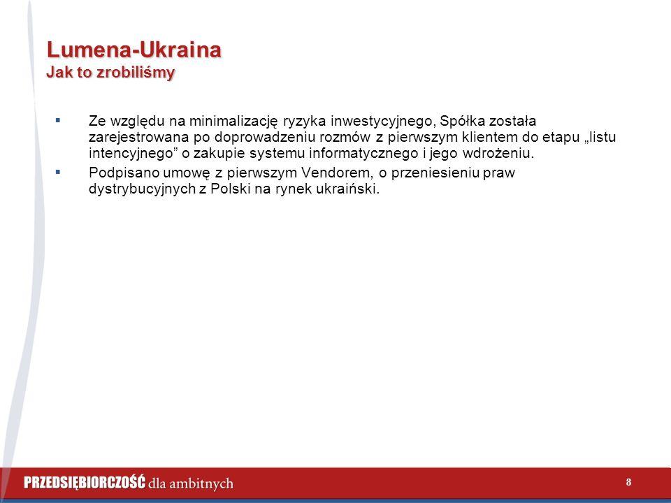 """8 Lumena-Ukraina Jak to zrobiliśmy  Ze względu na minimalizację ryzyka inwestycyjnego, Spółka została zarejestrowana po doprowadzeniu rozmów z pierwszym klientem do etapu """"listu intencyjnego o zakupie systemu informatycznego i jego wdrożeniu."""